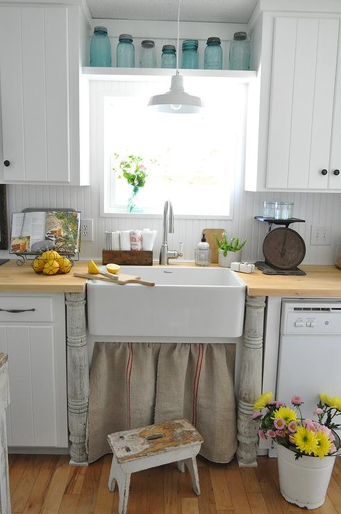 Buckets of Burlap - kitchens - Valspar - Bistro white - kitchens, vintage, butcher block counter tops, cabinets, vent hood, farmhouse, white, skirted sink, skirted farmhouse sink, burlap skirted sink, vintage burlap skirted sink,