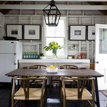 House & Home - kitchens - iron, lantern, salvaged, wood, dining table, wishbone chair, wishbone dining chairs, Hans Wegner Wishbone Chair,  Rustic