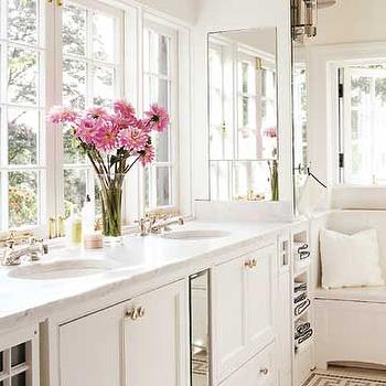 BHG - kitchens - white, gray, Greek key, French windows, white, double bathroom vanity, marble, countertop, greek key, greek key bathroom, greek key tile, greek key tile bathroom, greek key floor, greek key bathroom floor, greek key tile bathroom floor, windows in place of mirrors,