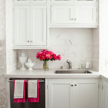 Caitlin Wilson Design - kitchens - white, shaker, kitchen cabinets, marble, subway tiles, backsplash, hot pink, accents, pink accents, hot pink accents, kitchen with pink accents, kitchen with hot pink accents,