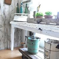 kitchens - Behr Cotton fluff, kitchens, buffet, farmhouse, industrial, vintage, white,  Our farmhouse kitchen buffet/breakfast nook