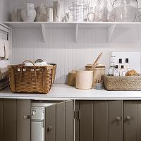 Martha Stewart - laundry/mud rooms - white, beadboard, backsplash, gray, cabinets, hiding, white, front-load, washer, dryer, hidden washer and dryer, hidden appliances,