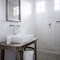 Skonahem - bathrooms - antique, silver, arched, mirror, salvaged wood, bathroom vanity, white, vessel, sink, wall-mount, faucet, repurposed washstand, repurposed vanity, repurposed bathroom vanity, salvaged wood vanity, salvaged wood bathroom vanity, salvaged wood washstand, salvaged wood sink console,