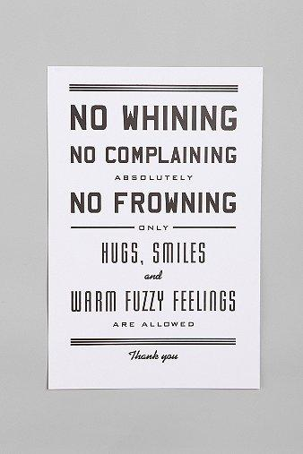 Art/Wall Decor - UrbanOutfitters.com > Hammerpress No Whining Print - hammerpress, no whining print, art