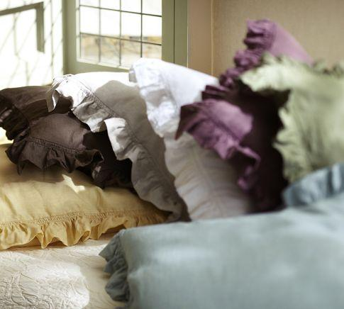 Bedding - Linen Ruffle Edge Euro Sham | Pottery Barn - linen, ruflle, sham
