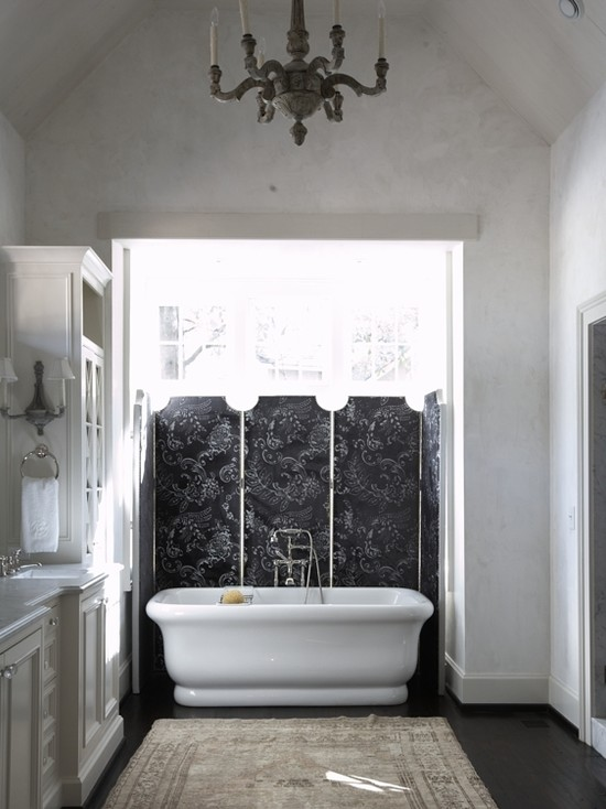 Tracery Interiors - bathrooms - black, floor screen, freestanding tub, espresso, stained, wood floors, vaulted ceiling, white, built-in, bathroom cabinets,