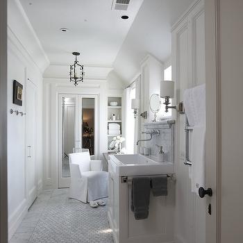 Tracery Interiors - bathrooms: mirrored, doors, marble, hex, tiles, floor, white, single, built-in, bathroom vanity, polished nickel, wall-mount, faucet, marble, subway tiles, backsplash, bi fold doors, bathroom bi fold doors, mirror bi fold doors, mirrored bi fold doors,