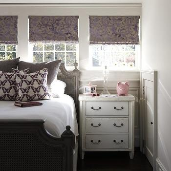 Tracery Interiors - girl's rooms - gray, cane, bed, gray, linen, shams, purple, damask, roman shades, purple, butterfly, pillows, white, nightstand, gray and purple girl room, gray and purple girls room, gray and purple girl bedroom, gray and purple girls bedroom, gray and purple room,