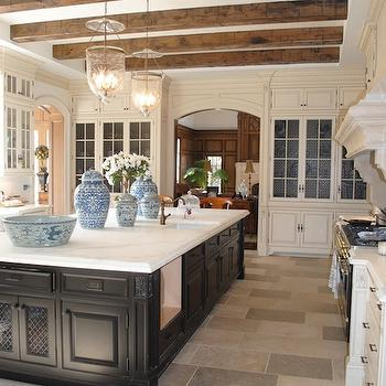 The Enchanted Home - kitchens - ming, ginger jars, rustic, wood, box beams, ebony, stained, kitchen island, ivory, glass-front, kitchen cabinets, calcutta, marble, countertops, glass, lanterns, rustic beams, rustic wood beams wood beams, exposed beams, exposed beam ceiling, kitchen ceiling beams,