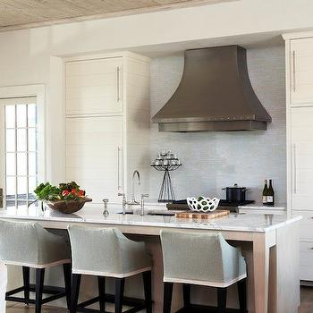 Slipcovered Barstools, Transitional, kitchen, Tracery Interiors