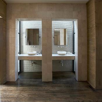 Tracery Interiors - bathrooms - stone, floating, vanities, stone, vessel, sinks, wall-mount, faucets, coffee stained, wood floors, vanity nook, bathroom vanity nook,