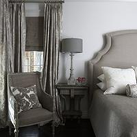 Tracery Interiors - bedrooms - gray, linen, headboard, gray, French, chair, white, gray, embroidered, pillow, gray, wood, lamp, gray, damask, drapes, layered, gray, silk, roman shades, gray bedrooms, gray walls, gray rooms, gray bedroom,