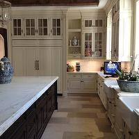 The Enchanted Home - kitchens - ivory, glass-front, kitchen cabinets, ebony stained, kitchen island, calcutta, marble, countertops, farmhouse sinks, ming, ginger jars,
