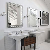 bathrooms - white, plank, floors, twin, glossy, white, pedestal, sinks, stacked subway tile, stacked subway tile backsplash, beveled subway tile, beveled subway tile backsplash, stacked beveled subway tile, , Williams-Sonoma Home Etched-Dot Tile Mirror,