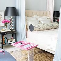 Traditional Home - bedrooms - fabric, bed, drapes, vintage, ball, lamps, black, shades, ivory, gray, bolster, pillow, Turkish, Oushak, rug, blue, walls, blue grey paint, blue grey paint color, blue grey walls, blue gray paint, blue gray walls, blue gray paint colors, blue gray bedroom, blue grey bedroom, blue grey bedroom walls, blue grey bedroom paint, blue gray bedroom walls, blue gray bedroom paint, Rubie Green East Village Pink, Cisco Brothers Francesca Bed,