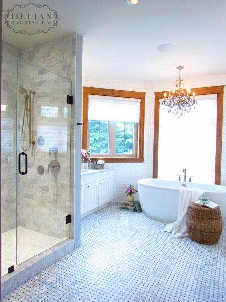 Carrara Marble Subway Tile Vintage Bathroom Jillian