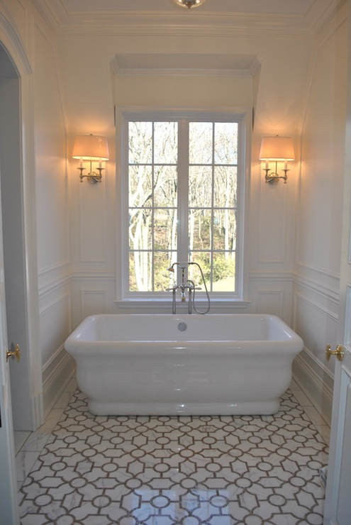The Enchanted Home - bathrooms - marble, trellis, tiles, floor, freestanding, tub, decorative, wall mouldings, polished nickel, sconces, flanking, window, trellis tiles, trellis floor, trellis tile floor, trellis tiled floor,