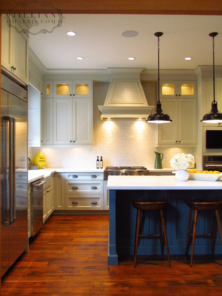 Jillian Harris - kitchens - wood beams, light gray, shaker, kitchen cabinets, charcoal, gray, kitchen island, marble, countertops, TV, oil rubbed bronze, industrial, pendants, subway tiles, backsplash, kitchen island, blue kitchen island,