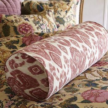 Pillows - Ikat Oversized Bolster Pillow Cover & Euro Sham | Pottery Barn - ikat, oversized, bolster, pillow