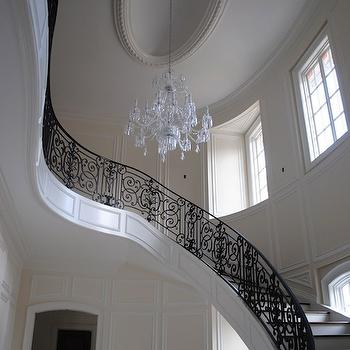 The Enchanted Home - entrances/foyers - wing staircase, iron, staircase, railing, crystal, chandelier, iron stair railing, black stair railing, stair railing,