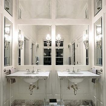 Bend Highlands - bathrooms - vaulted, ceiling, mirrored, paneled, walls, stone, tiles, floor, herringbone, pattern, lucite washstand, lucite vanity, lucite base washstand, lucite base vanity, Waterworks Boulevard Glass Round Two Leg Single Washstand,