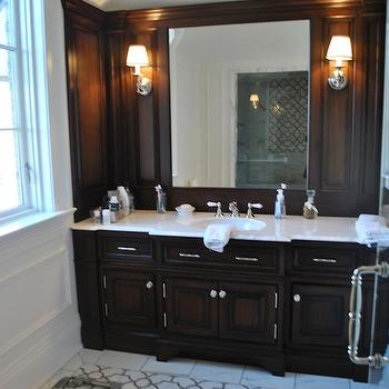 The Enchanted Home - bathrooms - marble, tiles, floor, marble, trellis, inset tiles, chocolate, stained, built-in, bathroom vanity, marble, countertop, seamless glass shower, chocolate brown cabinets, chocolate brown bathroom cabinets, brown cabinets white marble countertops,