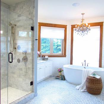 Jillian Harris - bathrooms - seamless glass shower, marble, subway tiles, shower surround, marble, basketweave, tiles, floor, freestanding, tub, seagrass, stool, white, bathroom vanity, carrara marble, carrara marble subway tile, carrara marble subway tile shower, carrara marble subway tile shower surround,