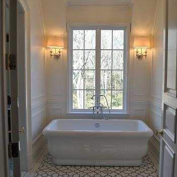 The Enchanted Home - bathrooms - marble, trellis, floor, tiles, freestanding, tub, polished nickel, sconces, flanking, window, decorative, wall mouldings, trellis tiles, trellis floor, trellis tile floor, trellis tiled floor,