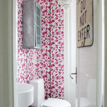 Skonahem - bathrooms - pink, wallpaper, vintage, metal, wall cabinet, white, black, checkered, tiles, floor, wall-mount, sink, bathroom chandelier, medicine cabinet, metal medicine cabinet, galvanized metal medicine cabinet, vintage metal medicine cabinet,