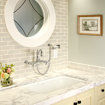 Gray Tile Backsplash, Transitional, bathroom, Opal Design Group