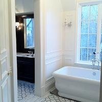 The Enchanted Home - bathrooms - freestanding, tub, marble, trellis, tiles, floor, decorative, wall mouldings,  Amazing bathroom with freestanding