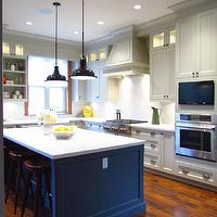 Jillian Harris - kitchens - light gray, shaker, kitchen cabinets, charcoal, gray, kitchen island, marble, countertops, oil rubbed bronze, industrial, pendants,