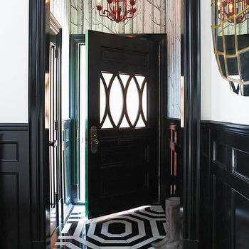 House & Home - entrances/foyers - red, tole, chandelier, glossy, black, door, wall mouldings, white, black, tiles, octagon, pattern, red chandelier, pagoda chandelier, red pagoda chandelier, red chinoiserie chandelier, Cole & Sons Woods Wallpaper,