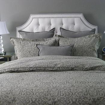 bedrooms: gray walls, gray bedrooms, ethan allen beds, ethan allen headboards, ethan allen upholstered beds,  Master Bedroom