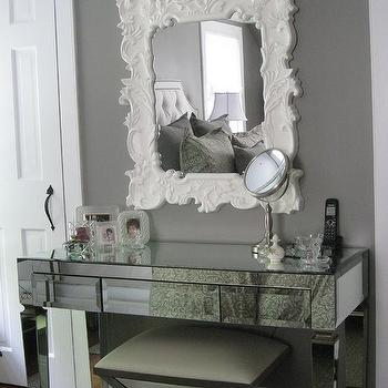 Mirrored Vanity, Transitional, bedroom, Benjamin Moore Galveston Gray