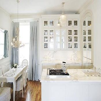 Kelly G Design - kitchens - white, mirrored, doors, kitchen cabinets, marble, slab, countertops, backsplash, blue, silk, drapes, white, French, dining table, white, cane, chairs, glass front cabinets, glass front kitchen cabinets,