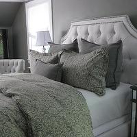 bedrooms - gray bedrooms, gray paint colors, gray bedroom, gray walls, gray rooms, Arhaus Monaco Chair, Ethan Allen Alison Bed,  Gray bedroom