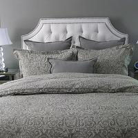 bedrooms - gray walls, gray bedrooms, ethan allen beds, ethan allen headboards, ethan allen upholstered beds, Restoration Hardware Italian Cypress Paisley Duvet Cover - Fog, Ethan Allen Alison Bed, Horchow Iris Mirrored Chest,
