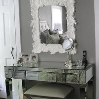 bedrooms - gray walls, mirrored vanity, Horchow Baroque Style Mirror, Ethan Allen Xanadu Bench, Glam Furniture Mirrored Vanity,  Master Bedroom