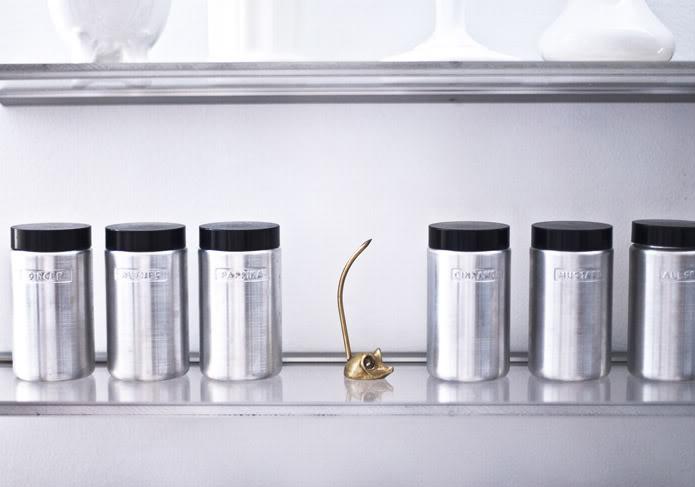 The Glamourai - kitchens - Ebay Vintage Aluminum Spice Canisters, spice rack, vintage spice canisters, spice canisters, aluminum spice canisters,