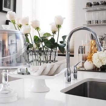 The Glamourai - kitchens - glass, shelves, white, quartz, countertops, acrylic, vintage, pie, stand, vintage, aluminum, lucite, ice, bucket, nickel, gooseneck, faucet, white, quartz, top, vintage ice bucket, lucite ice bucker, vintage lucite ice bucket,