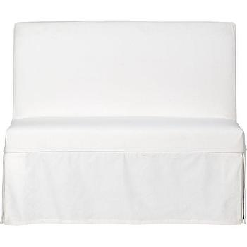 Seating - Slip Bench with White Slipcover in New Furniture | Crate and Barrel - slip, bench, white, slipcover