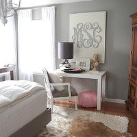 The Nester - bedrooms - gray, walls, brown, cowhide, rug, gray walls, gray paint, gray paint colors, gray bedrooms, gray walls, grey walls, gray paint, grey paint, gray paint color, grey paint color, gray wall paint, grey wall paint, gray bedroom walls, grey bedroom walls, gray bedroom paint, grey bedroom paint, gray bedroom paint color, grey bedroom paint color, Etsy Southern Nest Wooden Monogram,
