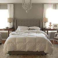 The Nester - bedrooms - gray, walls, white, sheers, white, gray, Greek, key, bedding, glossy, white, gourd, lamps, gray, tufted, headboard, bed, crescent, tables, velvet tufted headboard, gray velvet headboard, gray velvet headboard, gray tufted headboard, gray velvet tufted headboard,