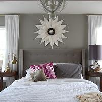 The Nester - bedrooms - gray, walls, white, sheers, pink, peacock, feather, pillow, gray, tufted, bed, headboard, crescent, table, tufted wingback headboard, gray tufted wingback headboard, tufted headboard, gray tufted headboard, wingback headboard, gray wingback headboard, gray walls, grey walls, gray paint, grey paint, gray paint color, grey paint color, gray wall paint, grey wall paint, gray bedroom walls, grey bedroom walls, gray bedroom paint, grey bedroom paint, gray bedroom paint color, grey bedroom paint color, DIY White Poster Board Sunburst Mirror,