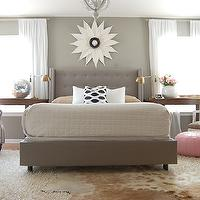 The Nester - bedrooms - Martha Stewart - Flagstone - gray, walls, brown, cowhide, rug, layered, white, flokati, rug, antique, brass, pharmacy, lamps, gray, tufted, bed, wood, crescent, tables, gray bedrooms, gray walls, gray rooms,