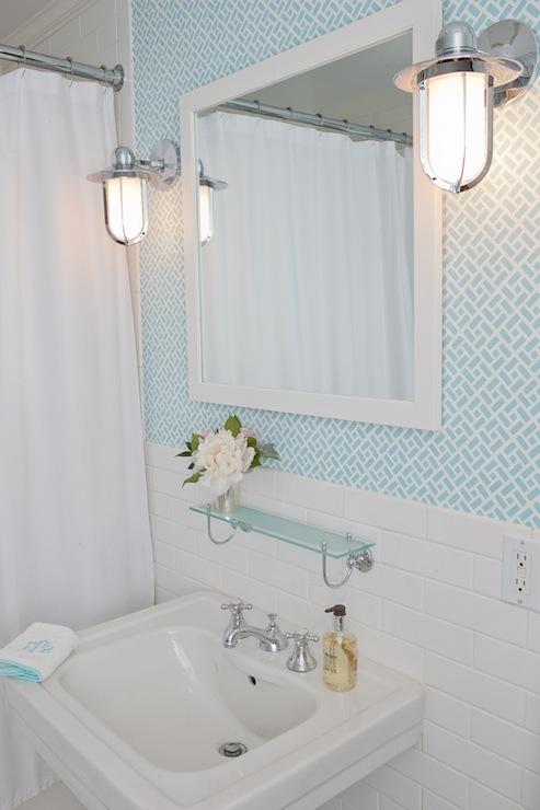 Quadrille fabrics china seas edo grey on white wallpaper for Grey bathroom wallpaper