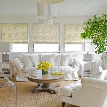 Young Huh Interiors - living rooms - roman shades, fiddle leaf fig, plant, white, slipcover, rolled-arm, sofa, white, shag, pillows, wood, pedestal, coffee table, slipcovered sofa, rolled arm slipcovered sofa, white slipcovered sofa, Kelly Wearstler Imperial Trellis Citrine Fabric, West Elm Parsons End Table, Kartell Ghost Chair,