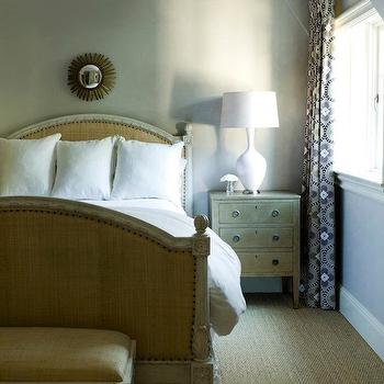 Melanie Turner Interiors - bedrooms - vaulted ceiling, gray, w alls, small, brass, sunburst, mirror, French, burlap, bed, white, French, bench, burlap, cushion, silver leaf, chest, nightstand, white, lamp, burlap bed, upholstered burlap bed, burlap headboard, upholstered burlap headboard,
