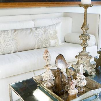 Melanie Turner Interiors - living rooms - white, high-back, sofa, nailhead trim, mirrored, coffee table, gray, silk, lumbar, pillow, mirror coffee table, mirrored coffee table,